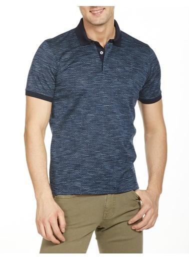Bisse Regular Fit Desenli Polo Yaka T-Shirt Lacivert